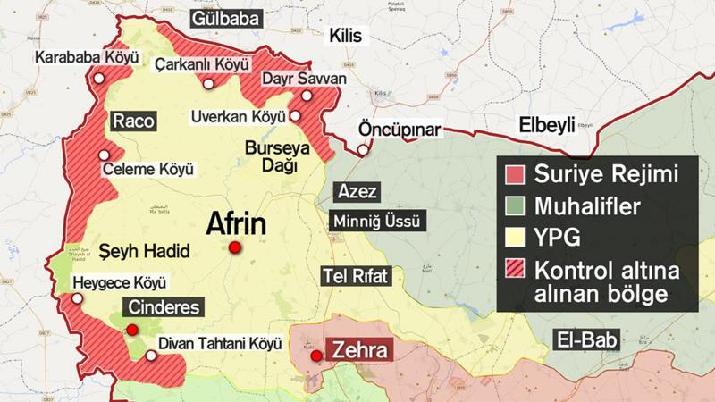 Afrin'de PKK/PYD'nin Türkiye sınırıyla bağlantısı kopmak üzere
